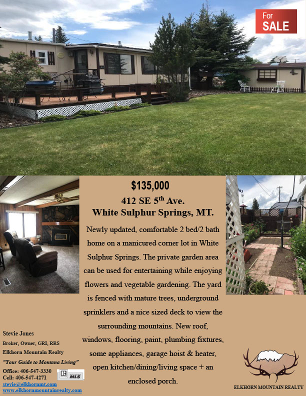 home for sale in White Sulphur Springs, MT